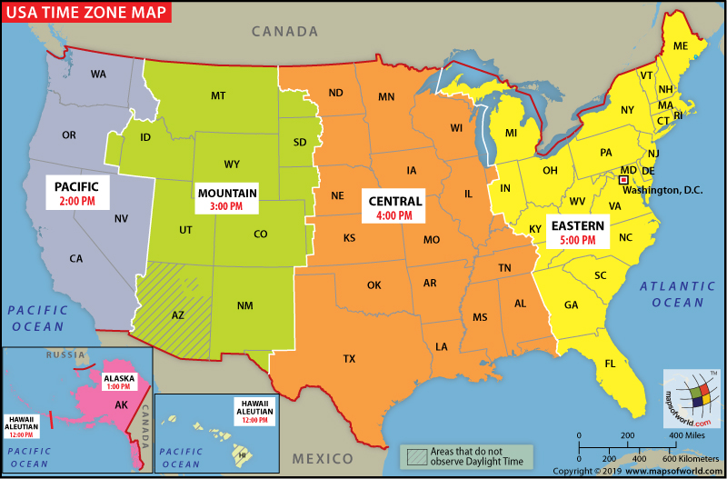 Us Time Zone Map 2019 Built in the USA