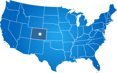 USA Map with star on Colorado